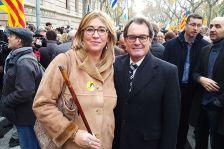 L'alcaldessa amb l'expresident Mas durant l'acte de suport